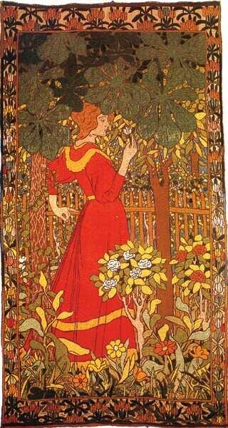 Rippl-Rónai József: Rózsát tartó nő, hímzett szőnyeg